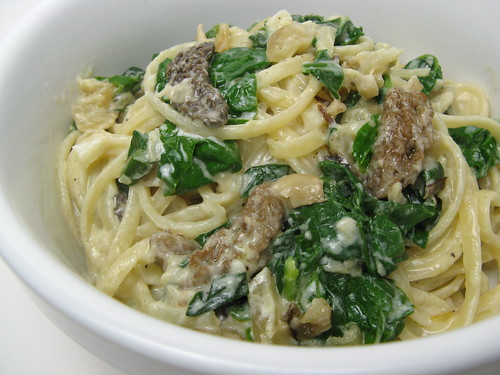 Fettuccine with Morels, Sunchokes, Ramps & Spinach
