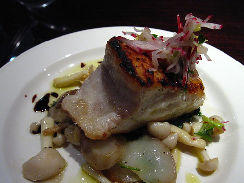 Roasted halibut with sunchokes and mushrooms
