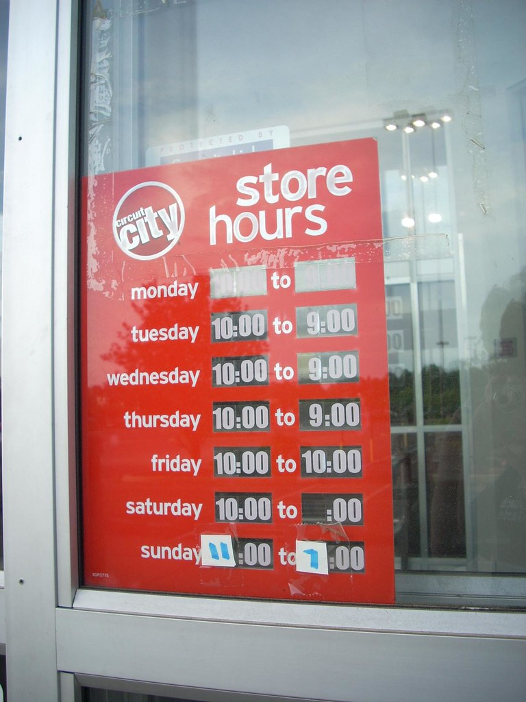 Abandoned Circuit City store hours