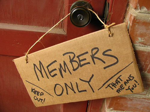 Members Only Cardboard sign