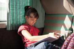 Doing homework on the train