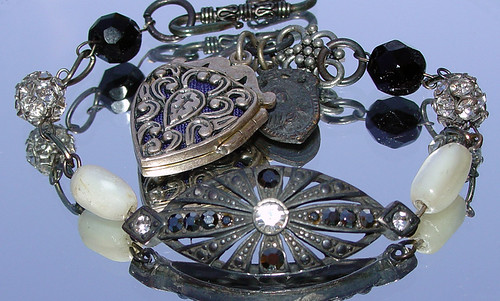 Marcasite Bracelet with Perfume Heart Charm