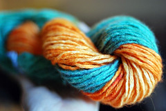 orange + blue yarn
