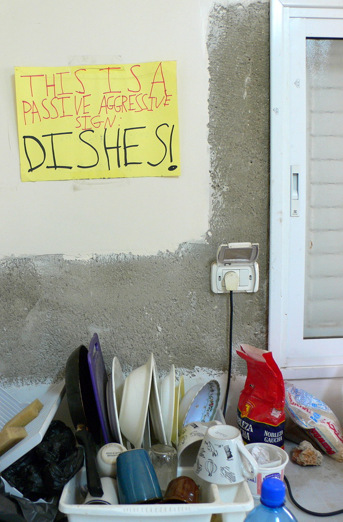 This is a passive-aggressive sign: DISHES!