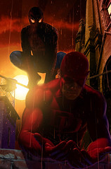 Spider-man_and_Daredevil (Greeeeeeeeeeg) Tags: art illustration comics painting artist comic image superhero characters illustrator superheroes marvel jpeg greghorn