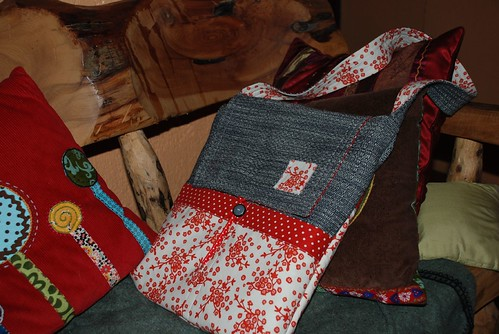 mischievous gnome bag in red