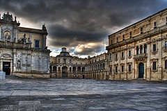 piazza duomo in lecce - salento (Paolo Margari) Tags: old city morning italien urban italy meridiani building church canon square photography dawn photo italian italia catholic foto photographer empty religion cities photographers chiesa fotografia canoneos salento puglia hdr italie barocco lecce fotografo fotografi centrostorico piazzaduomo  chiese pugliese vescovato leccese tonemapped italianphotographers paolomargari fotografiitaliani