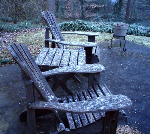 snowy adirondack chairs