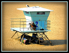 No Lifeguard On Duty (Jerri Johnson (away)) Tags: california blue shadow 2 tower beach sand nikon aqua photographer pacific seagull huntington cyan lifeguard d200 videographer beachscape anawesomeshot anawesomephoto envyofflickr theunforgettablepictures betterthangood
