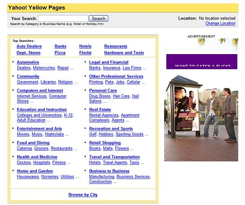 Páginas amarillas de Yahoo