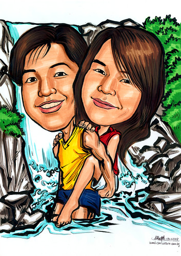 Caricatures couple Kota Tinggi waterfall