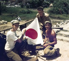 1945 Okinawa 02a (mgsmith) Tags: color geotagged soldier army japanese war flag wwii okinawa 1945 machinegun japaneseflag jerrysmith 718thamphibioustractorbattalion 718thamtracbattalion 718thamtrac