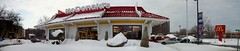 The Bronson Avenue McDonald's. (Steve Brandon) Tags: city winter autostitch panorama snow ontario canada geotagged restaurant suburban widescreen hiver ottawa fastfood mcdonalds neighborhood suburb neige neighbourhood  ville goldenarches mcdo franchise   roadsidearchitecture     bronsonavenue theglebe ottawaphotography    mcdonaldsrestaurantsofcanada ottawaphotographer renfrewavenue