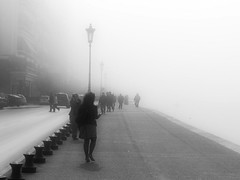 Foggy morning in the city (jimiliop) Tags: road street city morning people cars fog walking traffic crowd foggy greece macedonia thessaloniki lamps soe salonica thermaikos anawesomeshot aplusphoto diamondclassphotographer