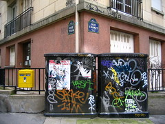 A Clean Mailbox (Gabri Le Cabri) Tags: blue red orange white paris streets building green yellow mailbox corner drag graffiti flask angle political equipment posters strike torn boxes bibi electrical asher audio rek 75011 paris11