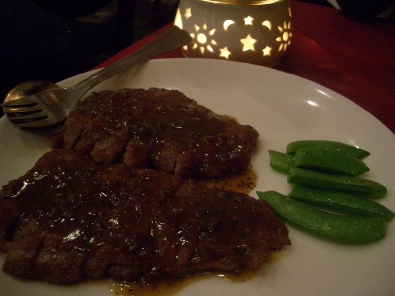 Eye fillet in black pepper sauce