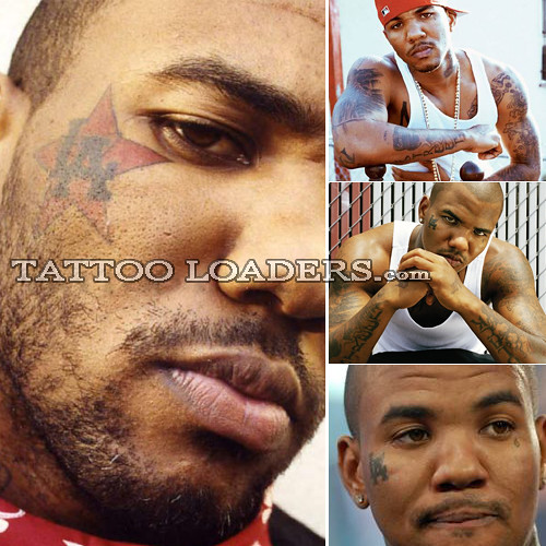 game face tattoo. Tattoos on Rapper The Game