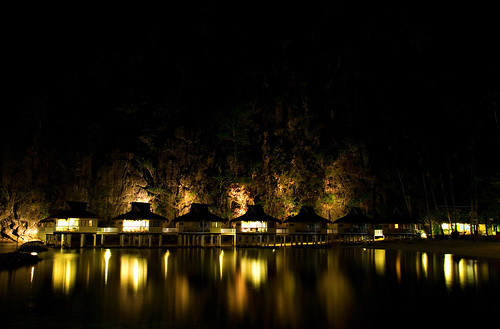 Water Cottages at Night