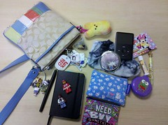Whats in My Bag 6-2-2011 (Dreaming Magpie) Tags: red bunny love car monster socks werewolf race bag keys mirror is milk coach coin italian keychain ipod ride lego whats journal cell dal brush plush your purse papers marshmallow kawaii oil buy need daisy caat what driver peep hunter something purses charms marshmellow tote insurance flo keropi progressive absorb tyedyed plushi minnir ineedtobuysomething