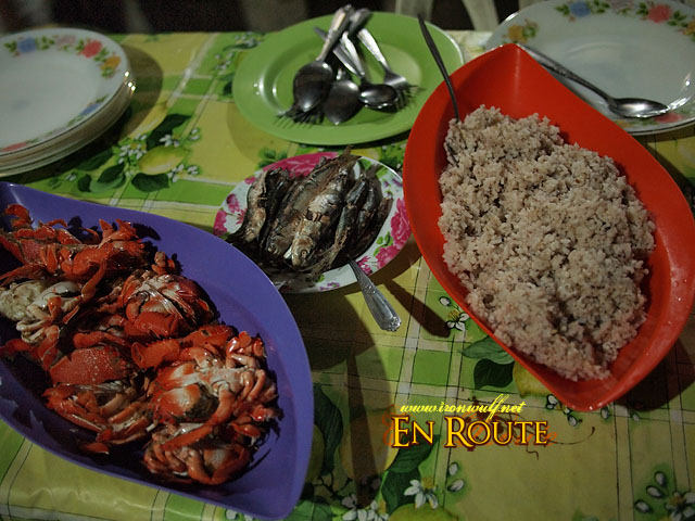 Our dinner of mini-curacha, dilis and red rice from Fuga Island