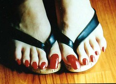 long and square. (I can't help it) Tags: red toes long pretty nails american pedicure toenails