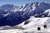 The gondola takes skiers and snowboarders to the top of Alpe d'Huez