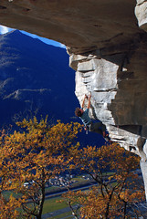 full optional 8a+ (chris frick) Tags: november autumn trees houses roof sky mountains fall nature colors leaves rock buildings fun freedom switzerland climb ticino space move explore climbing lip wonderland rockclimbing ambiance crag gneis cresciano chrisfrick