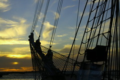 breakthrough (maybemaq) Tags: voyage blue sunset sky orange net water silhouette evening twilight ship indianocean australia rope perth pip mast gradation breakthrough fremantle breathtaking