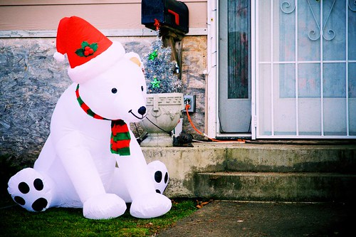 A Bear And His Hat And Scarf - a polar bear Christmas inflatable decoration in Stayton Oregon