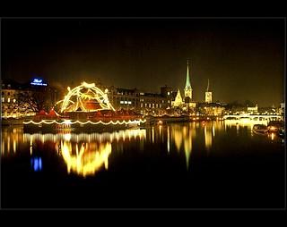 Zurich at night  / Switzerland. (November 28, 2007).