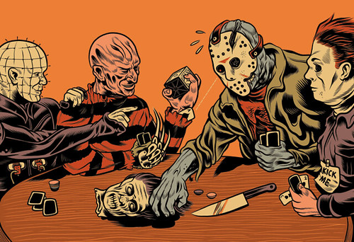 Horror Icons Playing Poker