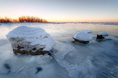 Three (From 10 to 300mm) Tags: winter sunset sea ice rocks winterscape