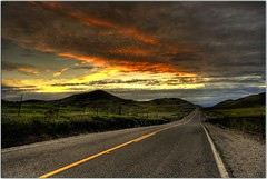 Another Point of View (Extra Medium) Tags: road sunset clouds vanishingpoint hills norcal hdr sutterbuttes photomatix