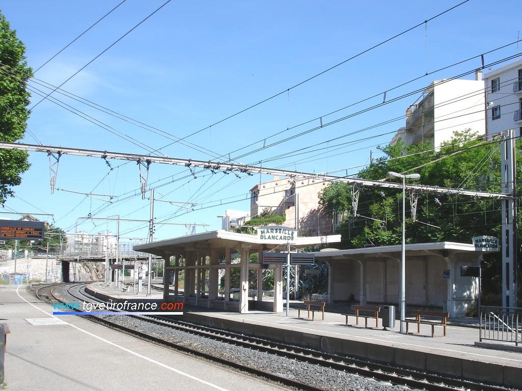Les quais et la marquise de Marseille-Blancarde sur la ligne Marseille - Toulon - Nice