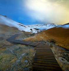 The winding footpath (arnitr) Tags: wood snow hot iceland path steam sulphur geothermal nikkon krsuvk nikond200 seltn