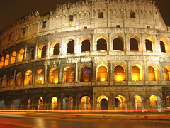 Colosseum burning (Mike G. K.) Tags: longexposure windows light italy orange rome roma cars architecture night lights warm glow burning colosseo coloseum rearcurtainflash lightstream secondcurtainflash slowsynchroflash anawesomedetail detallessculpturalandaechitecturaltreasures mikegk:gettyimages=invited