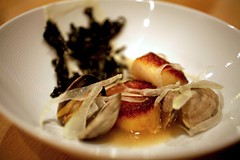 Scallop with Clams, Trumpet Mushroom Puree, Pickled Fennel, Nori, and Bacon Dashi