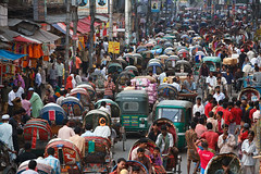 Old Dhaka traffic - Dhaka (Maciej Dakowicz) Tags: street city travel people tourism town asia chaos traffic transport pollution rush transportation dhaka rickshaw bengal bangladesh congestion bangla cng sadarghat chaotic olddhaka