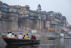 Ganges of the morning (TylerYoga) Tags: city india river boats looking holy varanasi indians float spiritual hindu 2008 ganga ganges northeastern ghats