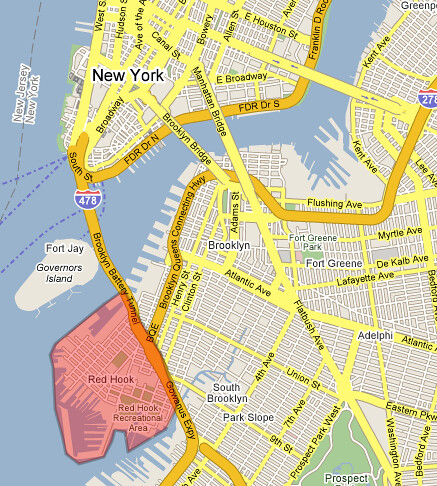 Red Hook, from Google Maps