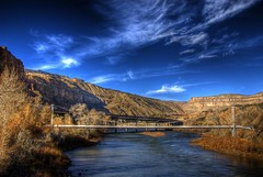 Pipeline Bridge, Colorado River, Grand Junction, Colorado (Thad Roan - Bridgepix) Tags: road bridge blue autumn trees sky rock clouds river highway colorado fallcolors bridges cliffs foliage explore cameo interstate palisade pipeline hdr i70 grandjunction photomatix 2bridges bridgepixing bridgepix mywinners 200711