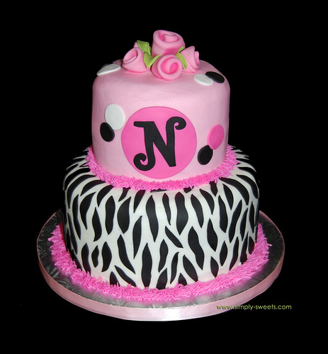 zebra and pink birthday cake