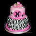 pink and black monogram zebra birthday cake