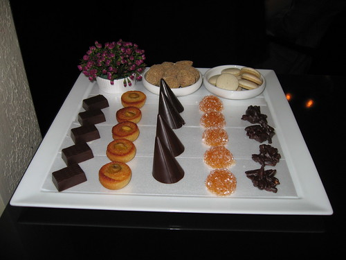 Everest: Assorted petit fours tray - earl grey truffle, licorice, coconut chocolate, pistachio financier, mint chocolate, apricot gelee, rocher