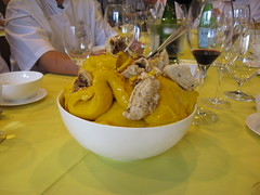 Pierre Hermé: Mango sorbet with hazelnut meringue and creme fraiche