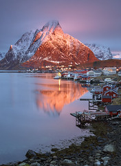 Magic of Olstinden (kani polat) Tags: norway lofoten sunrise sakrisoy winter olstinden hamnoy reflection ocean