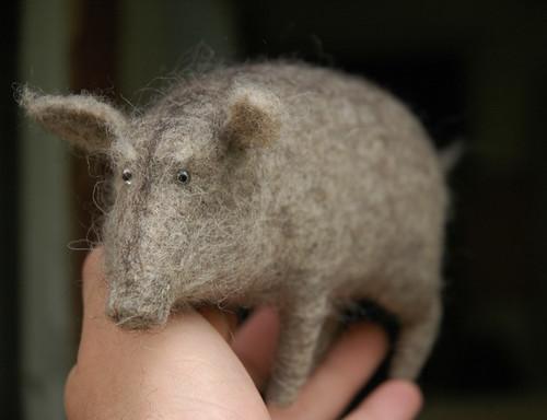 old needle felted boar / victor dubrovsky