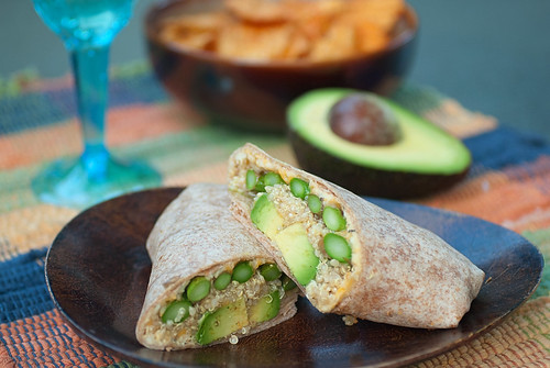 Quinoa, asparagus, and avocado wraps
