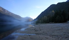 fog in thunder arm (Vida Morkunas (seawallrunner)) Tags: autumn usa lake cold reflection fall fog washington still diablo cwall northcascadesnationalpark splendiferous diabloagain