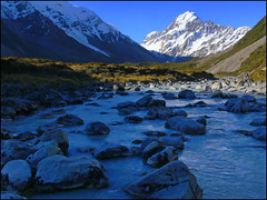Aoraki & the Hooker River (katepedley) Tags: new newzealand snow mountains rock landscape evening nationalpark interestingness tripod panasonic explore zealand alpine nz mtcook southisland geology southernalps fz30 aoraki hookervalley hookerglacier glaciated naturesfinest gndfilter canterburynz specland hookerriver